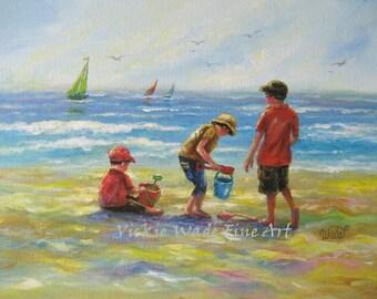 Three Beach Boys Art Print, beach paintings, three boys, beach, three brothers, beach children, three sons, boys room beach,Vickie Wade art