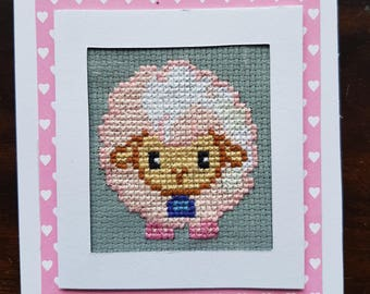 Cross Stitched Lamb Card Baby Girl