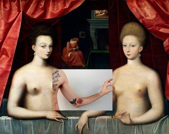Collage Estrées Gabrielle and her sister