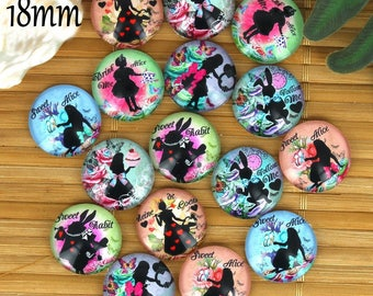 Set of 16 18mm glass cabochons, fairy tale, Alice ZC29