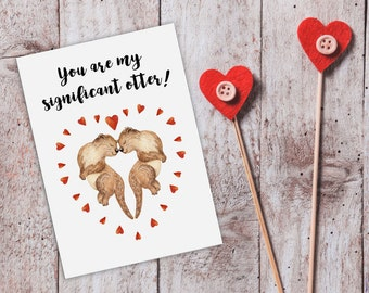 Funny Valentine Card For Him Funny Love Cards For Boyfriend Cute Love Card Valentine Otter Card Significant Otter Card For Boyfriend Husband