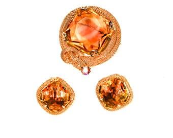 Amber Topaz Rhinestone Brooch, Earring, Set, Clip On, Designer Vintage Jewelry, Demi Parure, Glam, Mid Century Modern