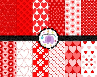 Valentine Hearts Digital Scrapbook Paper, Valentine's Day Digital Paper, Hearts Digital Paper Pack, Commercial Use