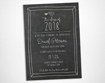 Chalkboard graduation party invitation, chalkboard writing printable graduation open house or graduation party invite card, class of 2018
