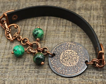 Spiral bracelet, metal etching, medieval illuminated manuscript design, blue green African turquoise beads, 7 3/4 inches long