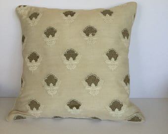 Basket weave embroidered decorative pillow for couch
