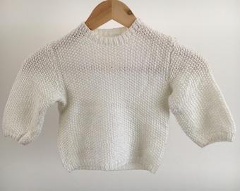 Vintage, hand white children's sweater