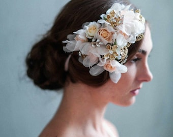 Bridal headpiece - Blush and gold bouquet headpiece - Style 722 - Made to Order