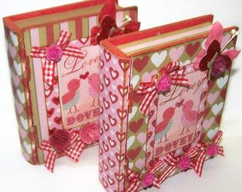 Book Box, Valentines Day, Red, Gift Box, Book Box, Vintage, Be Mine, Holiday Decor, Treasure Box, Jewelry Box, Keepsake Box, Free Shipping