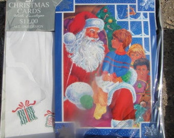 box Christmas cards  ,  New vintage  P.S. greeting cards , Boxed Christmas cards , Foil Santa kids snow  Christmas  made in use 20 cards
