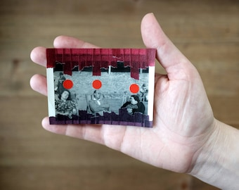 Art Gift Idea, Funny Tiny Vintage People Asleep Photography Portrait Altered Using Japanese Red Purple Washi Tape And Rounded Red Stickers