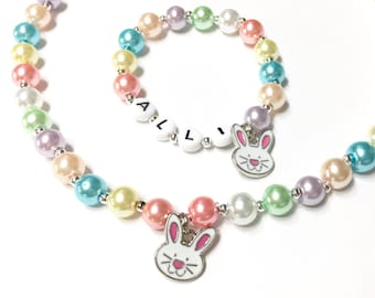 Easter Bunny Charm Bracelet and Necklace set. Personalized Name Necklace & Bracelet Set Easter Jewelry for little girls Jewelry for Kids