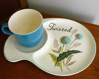 Twisted hand painted vintage teacup and saucer plate recycled breakfast time