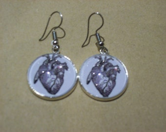 Victorian Illistration Inspired Anatomical Heart Earrings