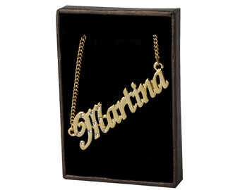 Name Necklace Martina - Gold Plated 18ct Personalised Necklace with Swarovski Elements
