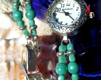 Silver Watch, Swarovski Teal Pearl and Silver Jewelry W065