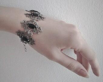 Gothic Bracelet Victorian Bracelet womens gothic jewelry Silver Filigree bracelet Black bracelet Swarovski Crystal