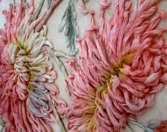 French  antique silk embroidery Ribbon Work, Boué Sister, New York Paris,