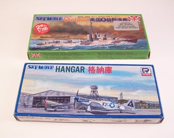 vintage sets of 1970s royal navy destroyer and U.S hangar from wwll scale toys scale ship made in japan