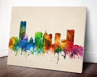 Oklahoma City Skyline Canvas Print, Oklahoma Cityscape, Oklahoma Art Print, Home Decor, Gift Idea, USOKOC05C