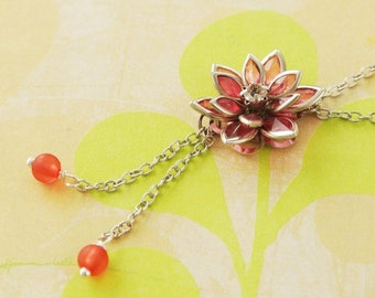 Red Lotus Jewelry,Red Flower Necklace, Red Floral Jewelry