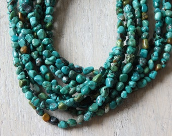 5-6mm Natural turquoise nugget beads - strand of irregular turquoise nuggets in natural GREEN BLUE tones, natural turquoise beads - strand