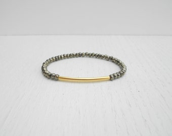 Gold pyrite bracelet, Gold tube bracelet, Pyrite jewelry