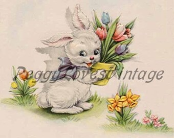 Easter 14 a Sweet White Bunny with Tulips a Digital Image from Vintage Greeting Cards - Instant Download