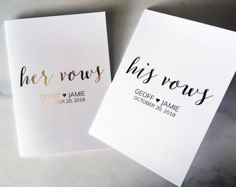 Vow Notebook - His and Hers Vows keepsake - Customized Vow Books, Perfect Wedding Keepsake