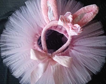 Easter Tutu Set, Pink Easter Bunny Ears w/ Striped Hair Bow & Pink Sewn Tutu - READY TO SHIP