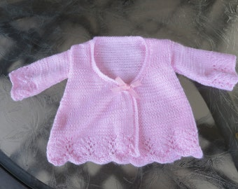 Hand knit pale pink baby girl matinee coat (cardigan)