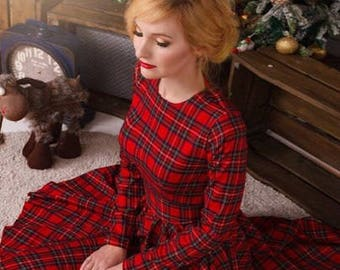 Red Plaid Dress Vintage Tartan Knee Length Midi Dress Red Woman Dress