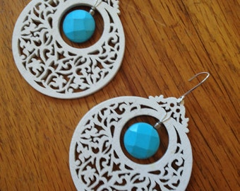 Lacy White Wood Lantern Earrings with Turquoise