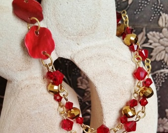 Ruby Red and Gold Swarovski Bracelet, Asymmetrical Jewelry, Mother of Pearl Bracelet