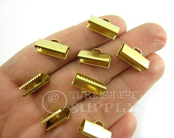 30 Raw Brass15x6mm Ribbon Crimp Ends with Loop, Fasteners Clasp Findings, Ribbon Ends Clamps, Raw Brass Findings EK231