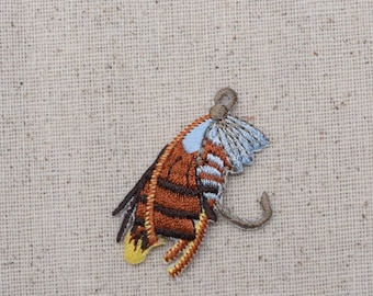 Small Fishing Fly - Lure - Bait - Iron on Applique - Embroidered Patch - 695726A