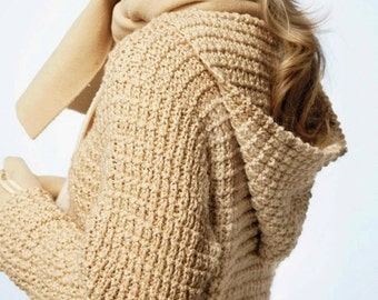 Pullover Hoodie, Easy & Quick Knit, Knitting Pattern. PDF Instant Download.