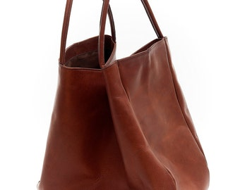 Large shoulder tote bag in cowhide leather art Martina
