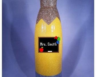glitter pencil tumbler / teacher appreciation / pencil tumbler / teacher gift / back to school gift / personalized pencil tumbler