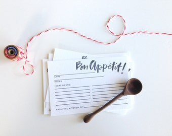 Bon Appetit Recipe Cards - Letterpress Printed