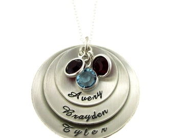 Mothers Personalized Jewelry -  Three Discs and Birthstones in Script Font