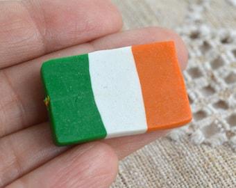 2 Flag Beads Ireland 30x20mm Rectangle Polyclay Polymer Clay Irish Jewelry