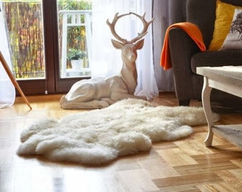 Giant Sheepskin. Fur rug. White rug. Sheepskin Rug. Long hair. Chair covers. Beautiful and cozy rugs. Shaggy. White Bed Throw. Gift.