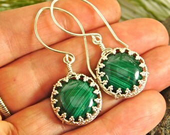 Malachite Wire Wrapped Sterling Silver Earrings - Matched Malachite Earrings