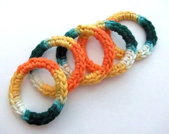 Cat and Ferret Toys, Recycled Rings Toy, Green Orange Yellow, Gift for Cats and Ferrets