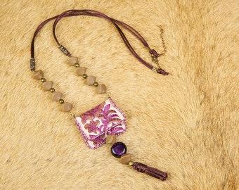 241-23 Kemiot style Boho Purple necklace