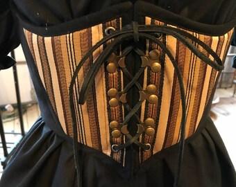 Medieval Victorian Steampunk Striped Corset Cincher