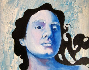 SALE! Original Framed Oil Painting - by Ela Steel - blue surreal portrait of a woman w/ swirling black hair textured background