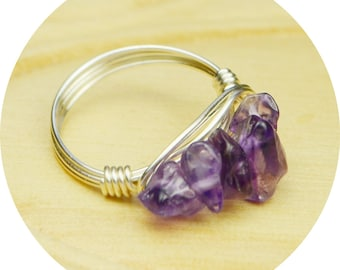 Amethyst Cluster Ring- Sterling Silver, Yellow or Rose Gold Filled Wire Wrapped Ring with Chip Gemstones- Size 4,5,6,7,8,9,10,11,12,13,14