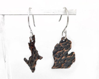 Copper dangle earrings